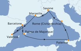 Itinéraire de la croisière Méditerranée 10 jours à bord du Costa Toscana
