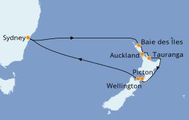 Itinéraire de la croisière Australie 2022 13 jours à bord du Ovation of the Seas