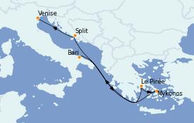Itinéraire de la croisière Grèce & Adriatique 7 jours à bord du MSC Magnifica