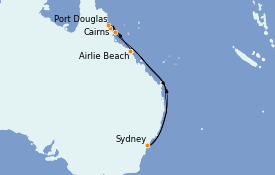 Itinéraire de la croisière Australie 2022 11 jours à bord du Radiance of the Seas