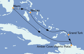 Itinéraire de la croisière Caraïbes de l'Est 7 jours à bord du Carnival Horizon