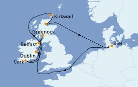 Itinéraire de la croisière Îles Britanniques 12 jours à bord du MSC Splendida