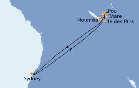 Itinéraire de la croisière Australie 2020 10 jours à bord du Carnival Splendor