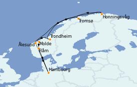 Itinéraire de la croisière Fjords & Norvège 12 jours à bord du MSC Orchestra