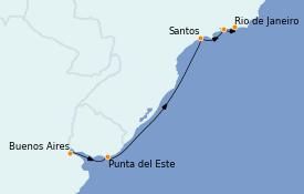 Itinéraire de la croisière Amérique du Sud 7 jours à bord du Norwegian Star
