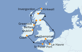 Itinéraire de la croisière Îles Britanniques 13 jours à bord du Crown Princess