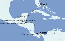 Itinéraire de la croisière Caraïbes de l'Ouest 9 jours à bord du Seven Seas Explorer