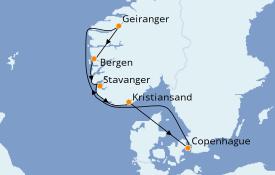 Itinéraire de la croisière Fjords & Norvège 8 jours à bord du Jewel of the Seas