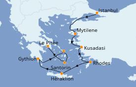 Itinéraire de la croisière Grèce & Adriatique 9 jours à bord du Seven Seas Voyager