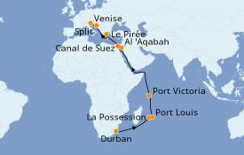 Itinéraire de la croisière Transatlantiques et Grands Voyages 2021 25 jours à bord du MSC Opera