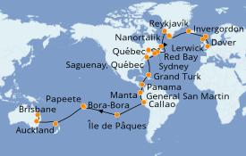 Itinéraire de la croisière Tour du Monde 2021 59 jours à bord du Sea Princess