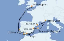 Itinéraire de la croisière Méditerranée 15 jours à bord du MSC Magnifica