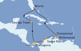 Itinéraire de la croisière Caraïbes de l'Est 12 jours à bord du Norwegian Pearl