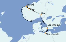 Itinéraire de la croisière Fjords & Norvège 8 jours à bord du MSC Musica