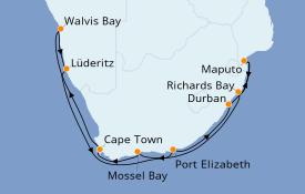 Itinéraire de la croisière Afrique 17 jours à bord du Seven Seas Voyager