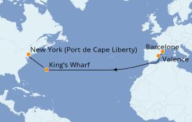 Itinéraire de la croisière Transatlantiques et Grands Voyages 2020 12 jours à bord du Vision of the Seas