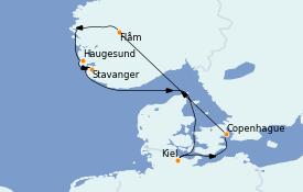 Itinéraire de la croisière Fjords & Norvège 8 jours à bord du Costa Diadema