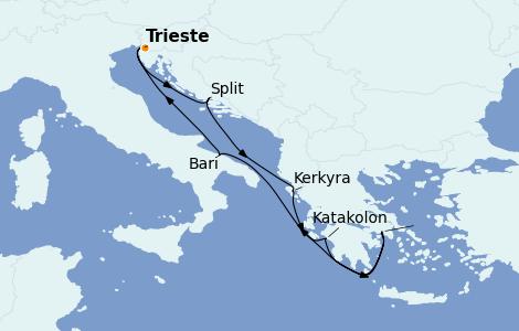 Itinéraire de la croisière Grèce & Adriatique 7 jours à bord du Costa Deliziosa