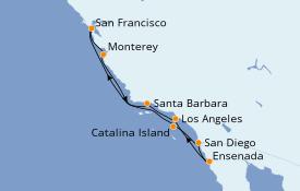 Itinéraire de la croisière Californie 10 jours à bord du Celebrity Eclipse