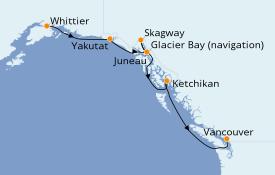 Itinéraire de la croisière Alaska 8 jours à bord du Sapphire Princess