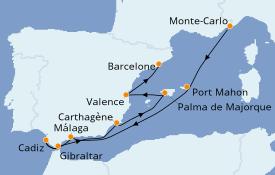 Itinéraire de la croisière Méditerranée 10 jours à bord du Silver Moon