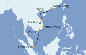 Itinéraire de la croisière Asie 8 jours à bord du Norwegian Jade