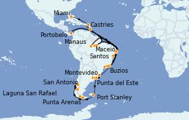 Itinerario de crucero Suramérica 51 días a bordo del MS Marina