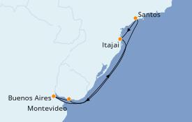 Itinéraire de la croisière Amérique du Sud 8 jours à bord du MSC Sinfonia