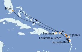 Itinerario de crucero Caribe del Este 12 días a bordo del Seabourn Sojourn