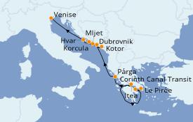 Itinéraire de la croisière Grèce & Adriatique 8 jours à bord du Le Lyrial