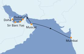 Itinéraire de la croisière Dubaï - Emirats 12 jours à bord du Azamara Quest
