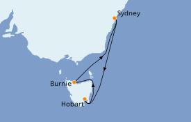 Itinéraire de la croisière Australie 2022 8 jours à bord du Queen Elizabeth