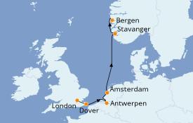 Itinéraire de la croisière Fjords & Norvège 8 jours à bord du Le Boréal