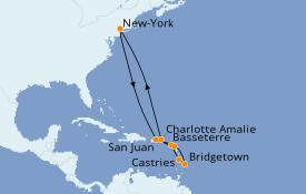 Itinéraire de la croisière Caraïbes de l'Est 12 jours à bord du Norwegian Gem