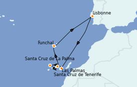 Itinéraire de la croisière Îles Canaries 8 jours à bord du Norwegian Star