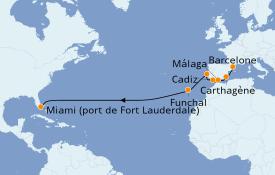 Itinéraire de la croisière Méditerranée 15 jours à bord du ms Westerdam
