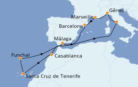 Itinéraire de la croisière Méditerranée 13 jours à bord du MSC Poesia