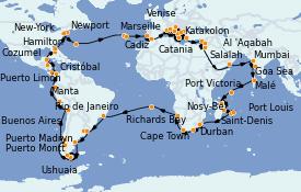 Itinéraire de la croisière Tour du Monde 2023 128 jours à bord du Costa Deliziosa