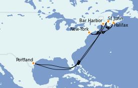 Itinéraire de la croisière Canada 8 jours à bord du Norwegian Escape