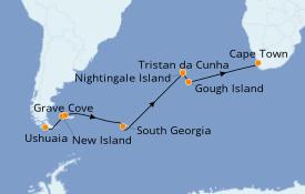 Itinéraire de la croisière Afrique 22 jours à bord du Le Lyrial