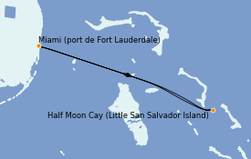 Itinéraire de la croisière Bahamas 4 jours à bord du ms Eurodam