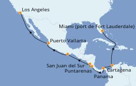 Itinéraire de la croisière Riviera Mexicaine 15 jours à bord du Island Princess