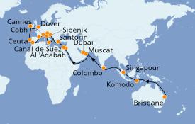 Itinéraire de la croisière Tour du Monde 2020 50 jours à bord du Sea Princess