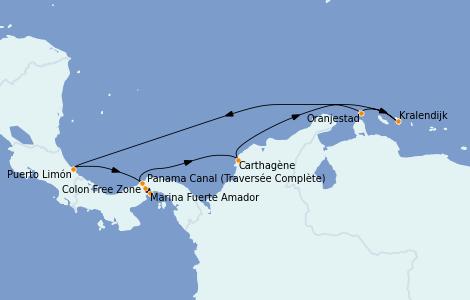 Itinéraire de la croisière Caraïbes de l'Est 9 jours à bord du Norwegian Jewel