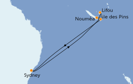 Itinéraire de la croisière Australie 2021 9 jours à bord du Carnival Splendor