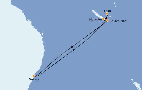 Itinéraire de la croisière Australie 2022 8 jours à bord du Carnival Splendor
