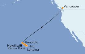 Itinéraire de la croisière Hawaii 12 jours à bord du Serenade of the Seas