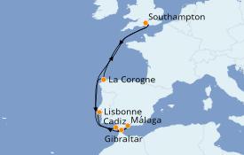 Itinéraire de la croisière Méditerranée 11 jours à bord du Queen Victoria