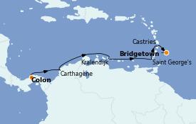 Itinéraire de la croisière Caraïbes de l'Est 9 jours à bord du Seven Seas Explorer