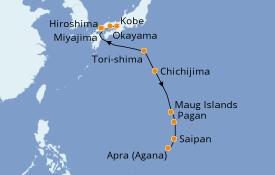 Itinéraire de la croisière Asie 12 jours à bord du Silver Explorer